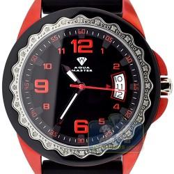 Aqua Master Black Rubber Diamond Womens Red Watch