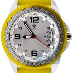 Aqua Master Yellow Rubber Diamond Womens Steel Watch