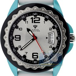 Aqua Master White Rubber Diamond Womens Blue Watch