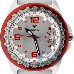 Aqua Master White Rubber Diamond Womens Steel Watch