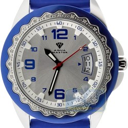Aqua Master Blue Rubber Diamond Womens Steel Watch