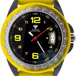 Aqua Master Black PVD Diamond Womens Yellow Rubber Watch