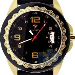 Aqua Master Black Rubber Diamond Womens Gold Watch