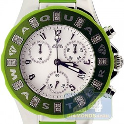 Aqua Master Jelly 0.24 ct Diamond Womens Green Rubber Watch