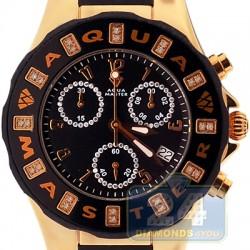 Aqua Master Jelly 0.24 ct Diamond Womens Gold Tone Black Rubber Watch