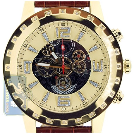 Aqua Master Jumbo Chrono 0.24 ct Diamond Mens Yellow Gold Steel Watch