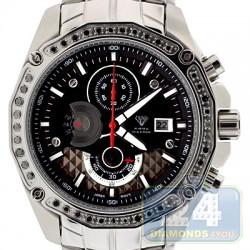 Aqua Master Chrono 1.50 ct Black Diamond Mens Steel Watch