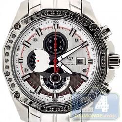 Aqua Master Chrono 1.50 ct Black Diamond Mens Silver Dial Watch