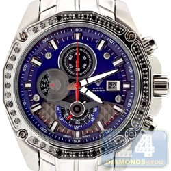 Aqua Master Chrono 1.50 ct Black Diamond Mens Blue Dial Watch