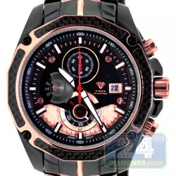 Aqua Master Carbon Chronograph Mens Black Rose Steel Watch