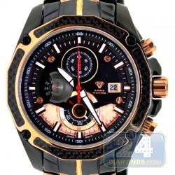 Aqua Master Carbon Chronograph Mens Black Gold Tone Watch