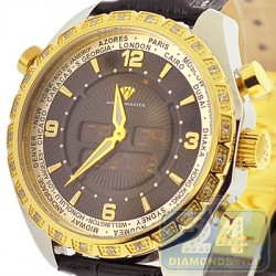 Aqua Master Digital 0.75 ct Diamond Mens Two Tone Watch