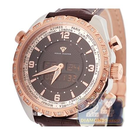 Aqua Master Digital 0.75 ct Diamond Mens 2-Color Watch