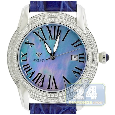 Aqua Master Slim 1.85 ct Diamond Mens Blue Watch