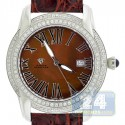 Aqua Master Slim 1.85 ct Diamond Mens Brown Watch