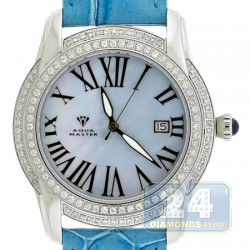 Aqua Master Slim 1.85 ct Diamond Womens Sky Blue Watch