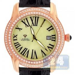 Aqua Master Slim 1.85 ct Diamond Mens Leather Watch