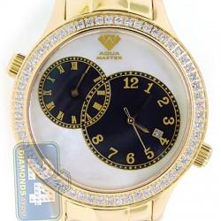Aqua Master 2 Time Zone 2.45 ct Diamond Mens Yellow Gold Watch
