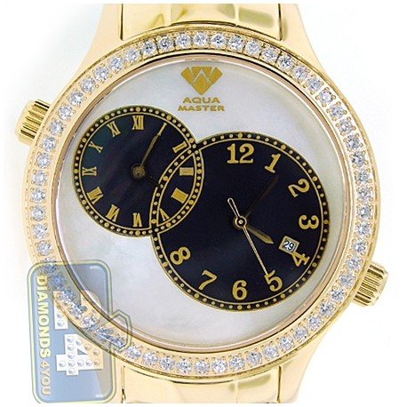 Aqua Master 2 Time Zone 2.45 ct Diamond Mens Yellow Gold Watch