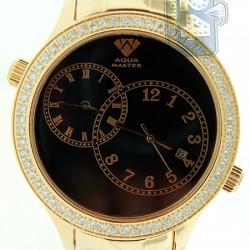 Aqua Master 2 Time Zone 2.45 ct Diamond Mens Yellow Watch