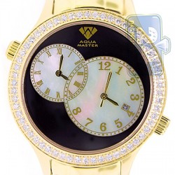 Aqua Master 2 Time Zone 2.45 ct Diamond Mens Gold Watch