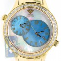 Aqua Master 2 Time Zone 2.45 ct Diamond Mens Gold Blue Watch