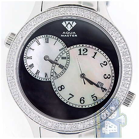 Aqua Master 2 Time Zone 2.45 ct Diamond Mens Steel Watch