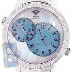 Aqua Master 2 Time Zone 2.45 ct Diamond Mens Blue Dial Watch
