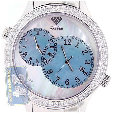 Aqua Master 2 Time Zone 2.45 ct Diamond Mens Blue Dial Watch