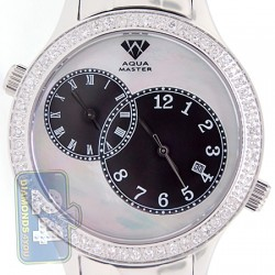 Aqua Master 2 Time Zone 2.45 ct Diamond Mens Silver Watch