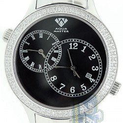Aqua Master 2 Time Zone 2.45 ct Diamond Mens Black Dial Watch
