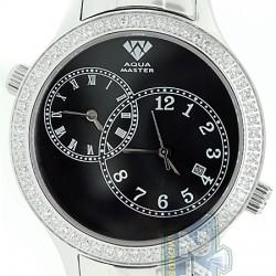 Aqua Master 2 Time Zone 2.45 ct Diamond Mens Black Dial Watch