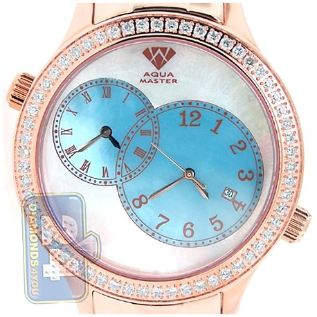 Aqua Master Rose Gold Plated 2.45 ct Diamond Mens Watch