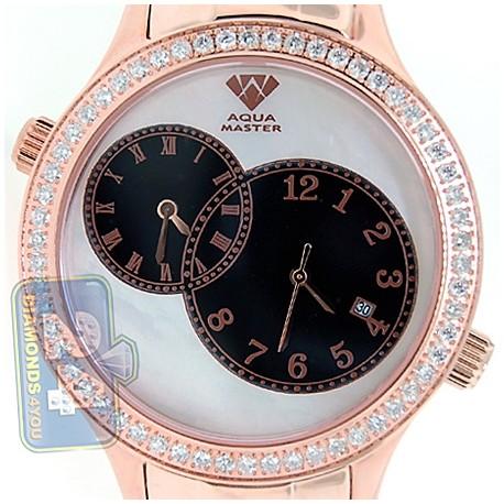 Aqua Master 2 Time Zone 2.45 ct Diamond Mens Rose Gold Watch
