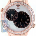 Aqua Master 2 Time Zone 2.45 ct Diamond Mens Rose Gold Watch