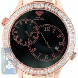 Aqua Master 2 Time Zone 2.45 ct Diamond Mens Rose Watch
