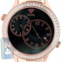 Aqua Master 2 Time Zone 2.45 ct Diamond Mens Rose Watch