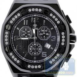 Aqua Master Royal 1.50 ct White Diamond Mens Black Watch