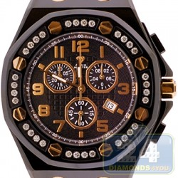 Aqua Master Royal 1.50 ct Diamond Mens Black Leather Watch