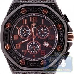 Aqua Master Royal 8.50 ct Full Black Diamond Case Mens Watch