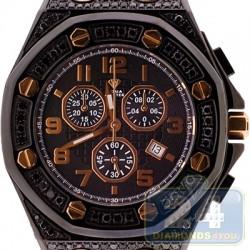 Aqua Master Royal 8.50 ct All Black Diamond Mens Watch