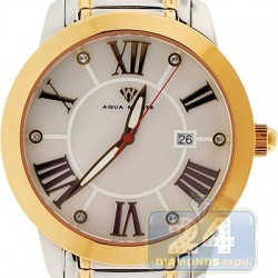 Aqua Master Classic Round White Dial Two Tone Mens Watch