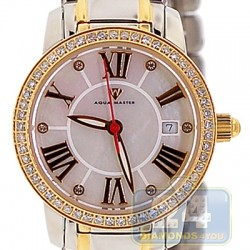 Aqua Master Classic Round 0.65 ct Diamond Womens Silver Gold Tone Watch