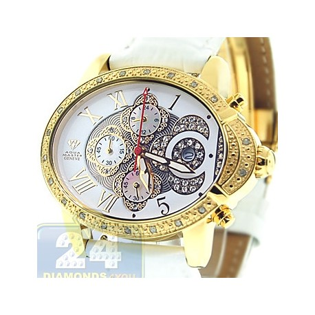 Aqua Master Oval 0.60 ct Diamond Womens Yellow Watch