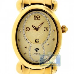 Aqua Master Oval Swiss Quartz Womens Yellow Watch
