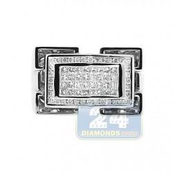 14K White Gold 0.85 ct Diamond Mens Signet Ring