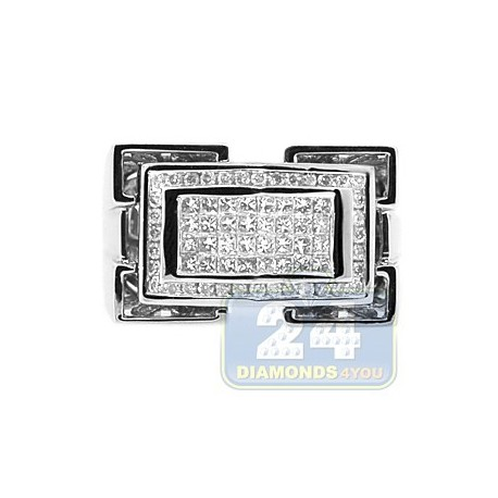 14K White Gold 0.85 ct Diamond Mens Rectangle Ring