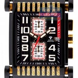 Aqua Master Bicycle Diamond Mens Black Yellow Watch