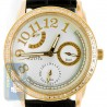 Aqua Master Classique 0.50 ct Diamond Womens Gold Steel Leather Band Watch