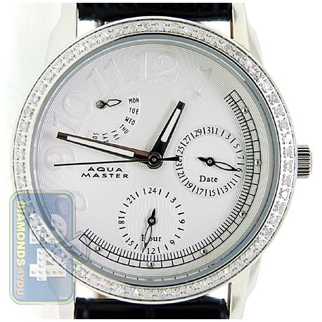 Aqua Master Classique 0.50 ct Diamond Womens Leather Band Watch